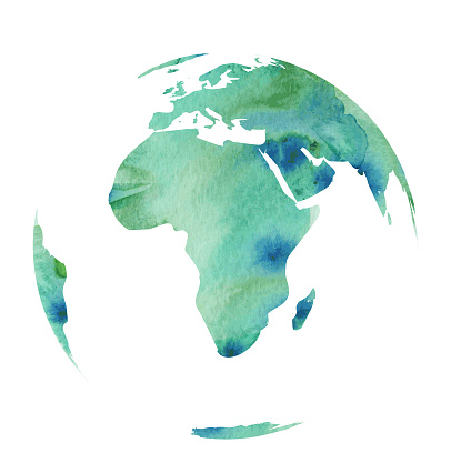 World Globe in Water color style