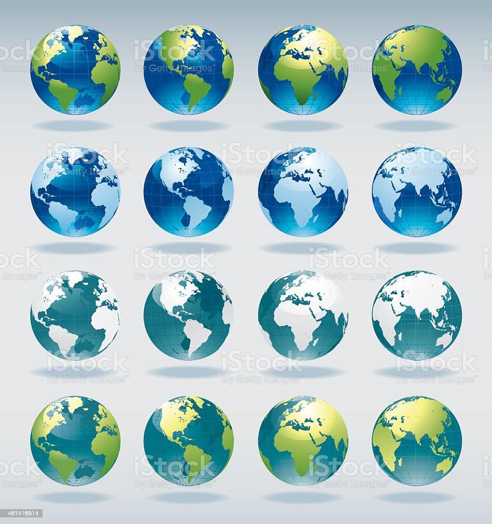 World Globe Map of the Earth vector art illustration