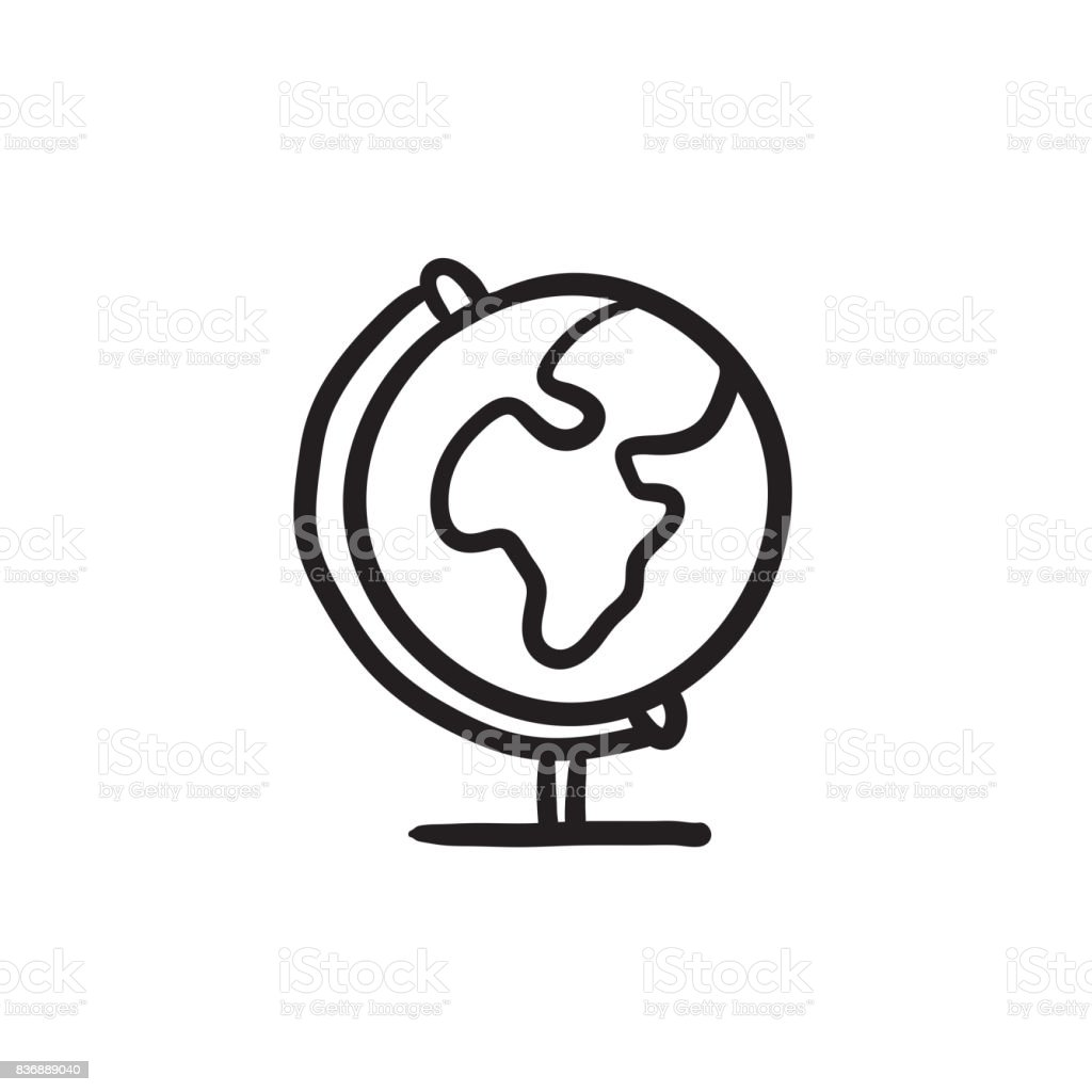 World Globe On Stand Sketch Icon Stock Illustration Download