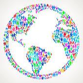 World Globe on vector family pattern Background