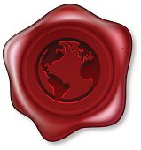 A red sealing wax seal with a world globe motif embossed on it. Vector file is eps 10 and uses transparency blends and gradient mesh. The source of the map  used for reference:   https://www.cia.gov/library/publications/the-world-factbook/maps/refmap_time_zones.html