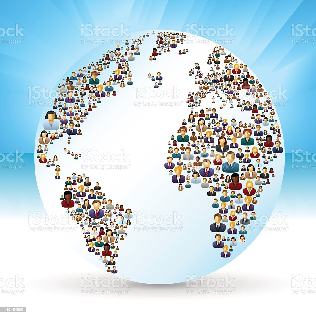 World globe with business people royalty-free stock vector art