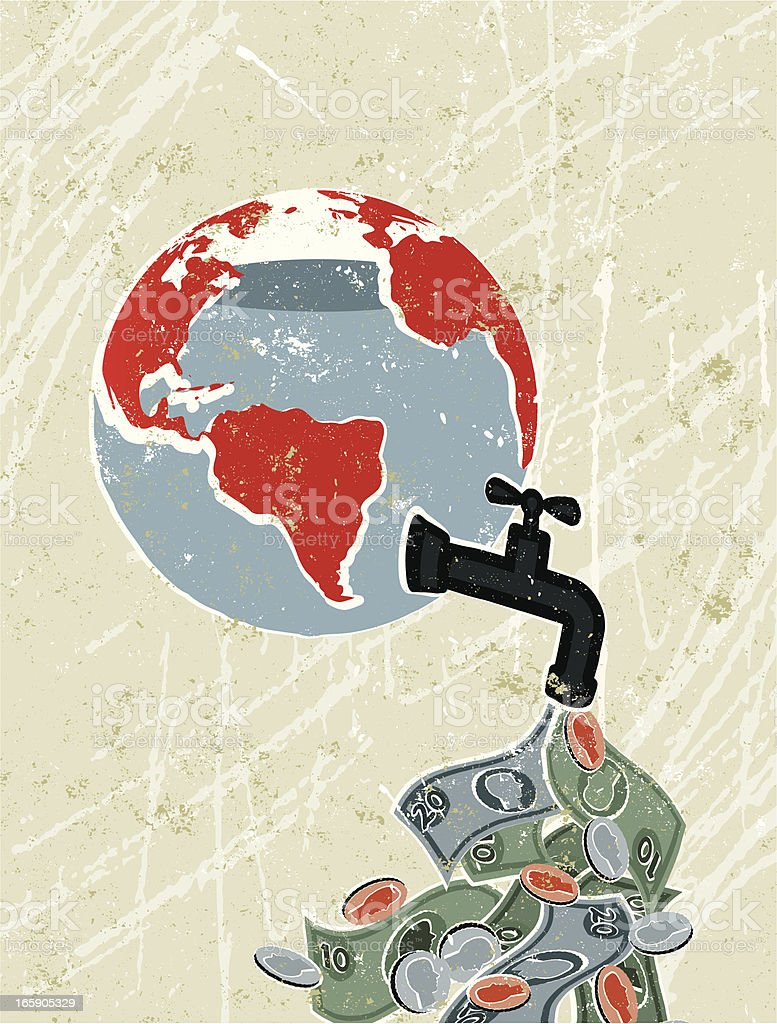 World Globe With Faucet Leaking Money vector art illustration