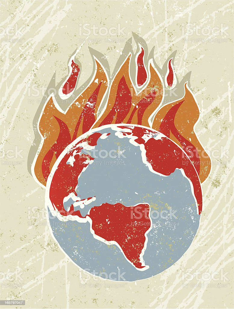 World Globe with Flames, Global Warming royalty-free stock vector art