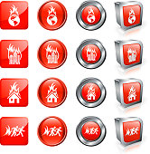 World Going up in Flames vector button set