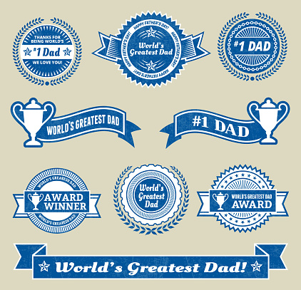 World Greatest #1 Dad badge royalty free vector icon set