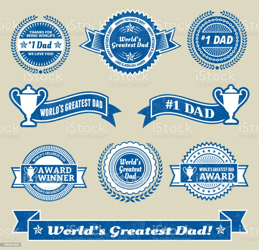 World maior#1 pai medalha de vetor royalty free Conjunto de ícones - ilustração de arte em vetor