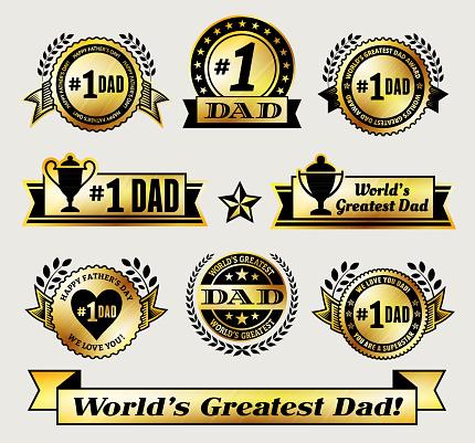 World Greatest #1 Dad gold Vector Icon badge set