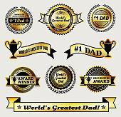 World Greatest #1 Dad gold icon badge set