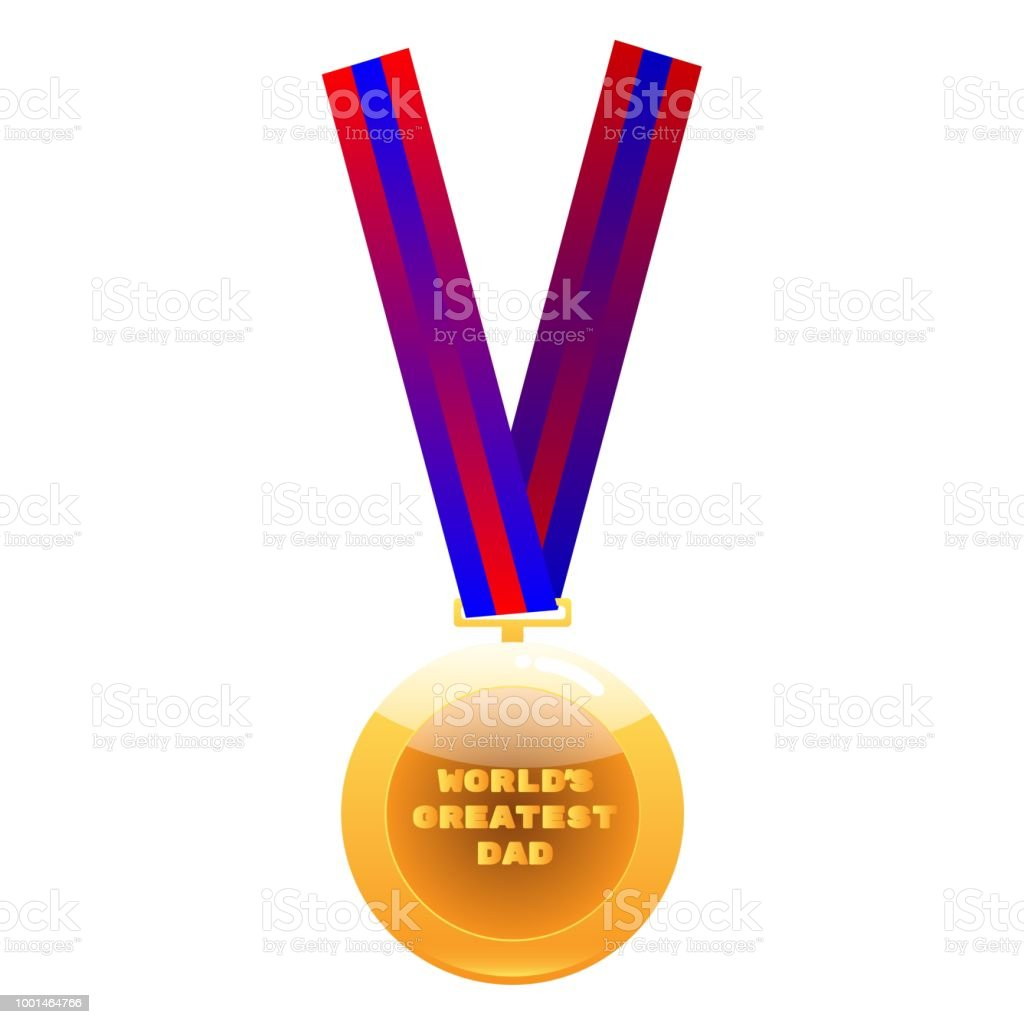 World greatest dad medal on colorful ribbon vector art illustration