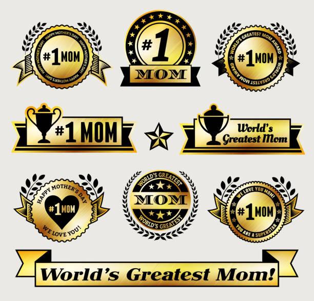 illustrazioni stock, clip art, cartoni animati e icone di tendenza di mondo più grande#1 mamma icona set di vettore badge oro - love word