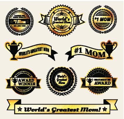 World Greatest #1 Mom gold Vector Icon badge set