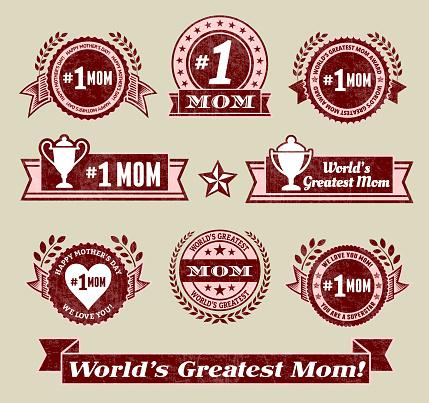 World Greatest #1 Mom grunge badge set