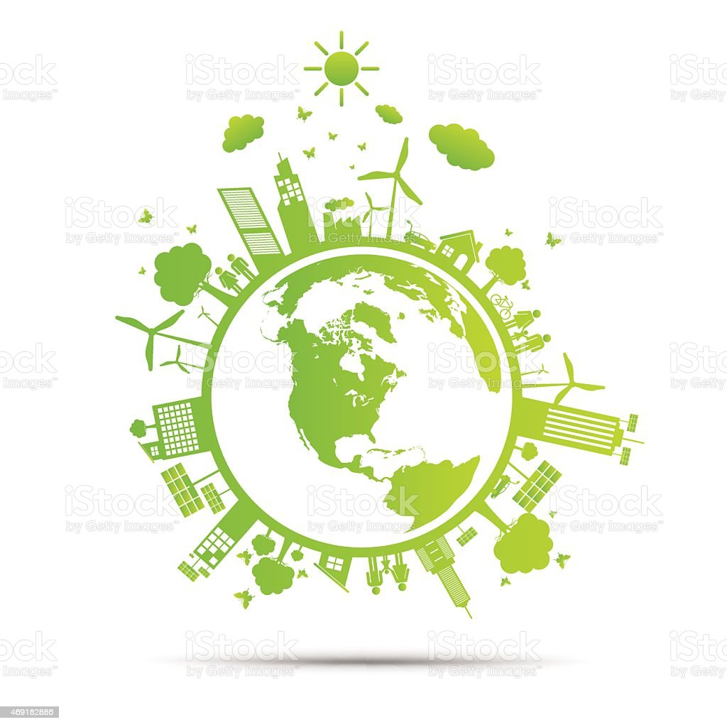 world Green ecology City environmentally friendly vector art illustration