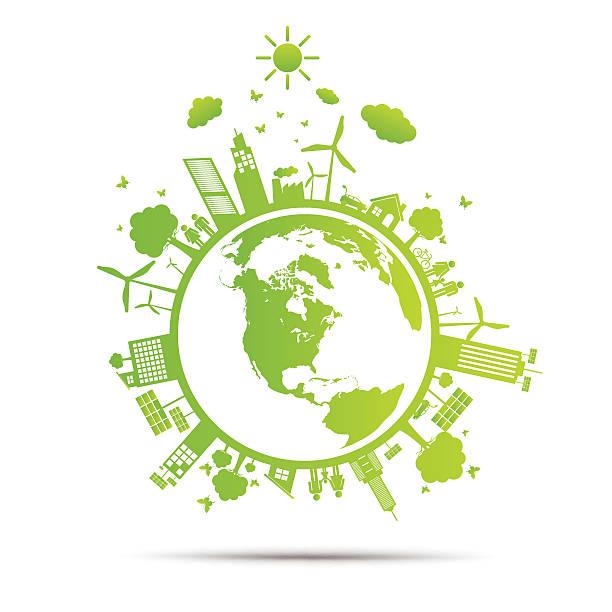 ilustrações de stock, clip art, desenhos animados e ícones de mundo de cidade de ecologia verde ecológico - green world