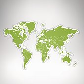 World green map on grey spacious background on glow.