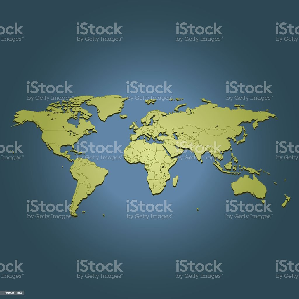 World green travel map on dark background in perspective view vector art illustration