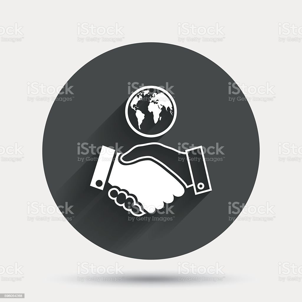 World handshake sign icon. Amicable agreement. royalty-free world handshake sign icon amicable agreement stock vector art & more images of badge