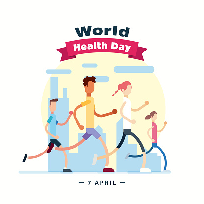 World Health Day 7 April poster, people running and jogging, morning walk illustration vector