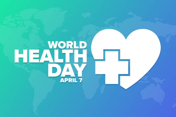 World Health Day. April 7. Holiday concept. Template for background, banner, card, poster with text inscription. Vector EPS10 illustration. World Health Day. April 7. Holiday concept. Template for background, banner, card, poster with text inscription. Vector EPS10 illustration world health day stock illustrations