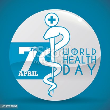 istock World Health Day Button with Rod of Asclepius Symbol 519222846