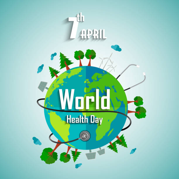 World health day concept with environmental of earth Illustration of World health day concept with environmental of earth world health day stock illustrations