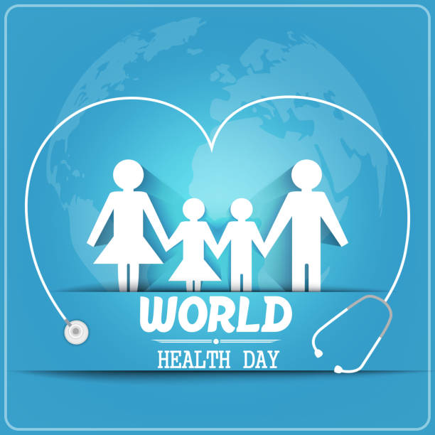 World health day concept with healthy family Illustration of World health day concept with healthy family under stethoscope and globe world health day stock illustrations