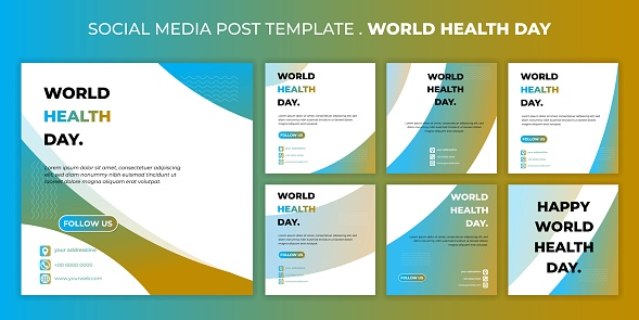 World health day design with Social media post template. set of social media post template with geometric blue and yellow design.