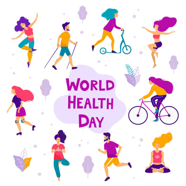 World health day. Healthy lifestyle concept. Flat vector illustration. world health day stock illustrations