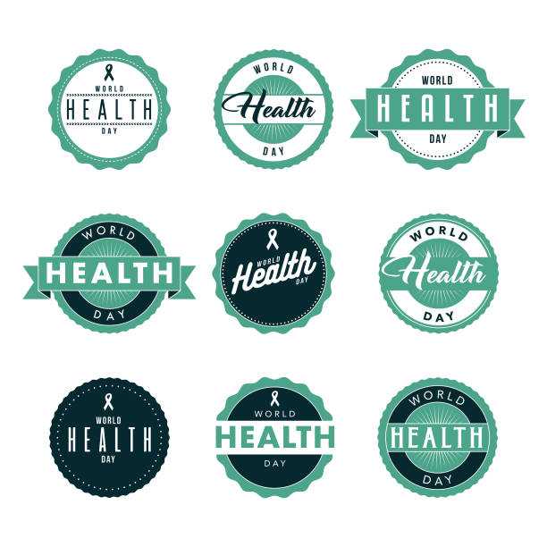 World Health Day Icon Set A set of holiday greeting labels in a variety of typographic styles. Color swatches are global for quick and easy color changes throughout the file. The color space is CMYK for optimal printing and can easily be converted to RGB for screen use. world health day stock illustrations
