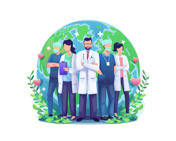 World Health Day illustration concept with a Group of staff medical doctors and nurses standing in front of the world globe World Health Day illustration concept with a Group of staff medical doctors and nurses standing in front of the world globe. vector illustration world health day stock illustrations