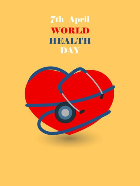 world health day illustration.stethoscope on red heart shape. world health day illustration.stethoscope on red heart shape. world health day stock illustrations