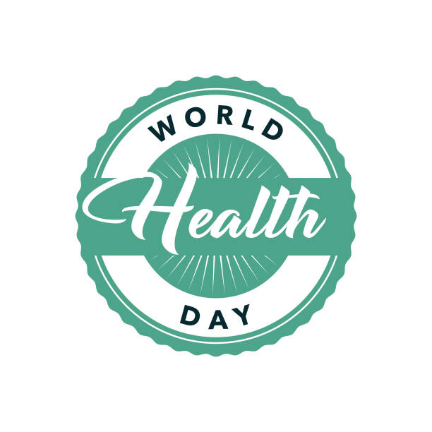 World Health Day Label An event label isolated on a transparent background. Color swatches are global for quick and easy color changes throughout the file. The color space is CMYK for optimal printing and can easily be converted to RGB for screen use. world health day stock illustrations
