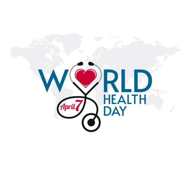 World Health Day Lettering Stethoscope and Heart Shape World Health Day typographic lettering with stethoscope and heart shape on world map textured background. Medical banner design. world health day stock illustrations