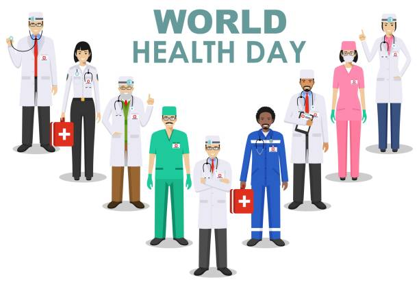 World Health Day. Medical concept. Detailed illustration of doctor and nurses in flat style isolated on white background. Practitioner doctors man and woman standing in different positions. Vector. World Health Day concept. Detailed illustration of medical people in flat style isolated on white background. Practitioner doctor and nurses standing in different positions. Vector illustration. world health day stock illustrations