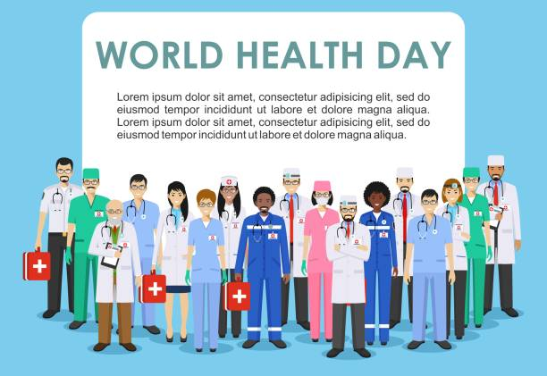 World Health Day. Medical concept. Detailed illustration of doctor and nurses in flat style isolated on blue background. Practitioner doctors man and woman standing in different positions. Vector. World Health Day concept. Detailed illustration of medical people in flat style isolated on blue background. Practitioner doctor and nurses standing in different positions. Vector illustration. world health day stock illustrations