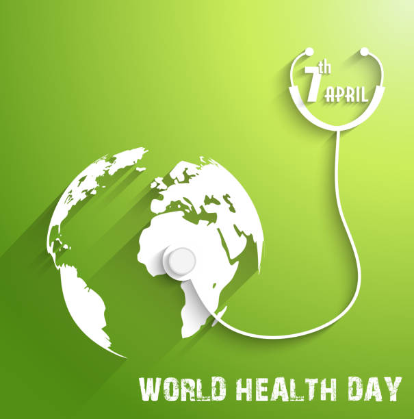 World Health Day on green background Illustration of World Health Day on green background world health day stock illustrations