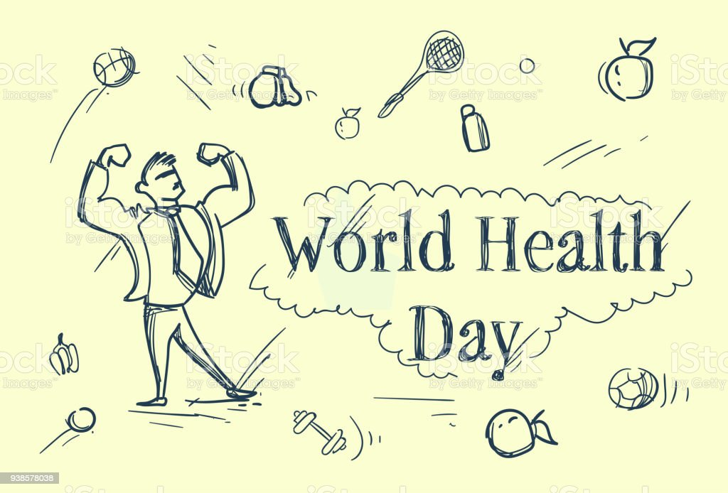 World Health Day Sketch Greeting Card With Strong Man