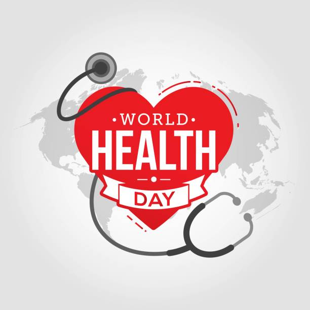 World health day World health day heart and stethoscope design world health day stock illustrations