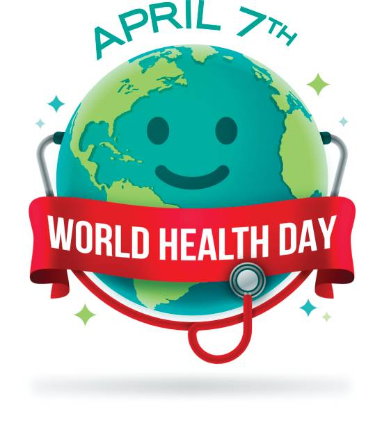 World Health Day World health day earth with stethoscope concept. world health day stock illustrations