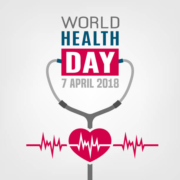 World health day World health day concept. 7 April 2018. Medicine and healthcare image. Editable vector illustration in red, blue and grey colors isolated on a white background. world health day stock illustrations