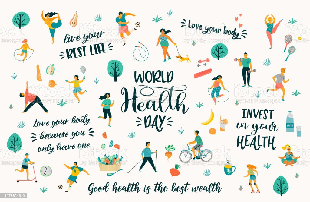 World Health Day Vector Illustration With People Leading An Active Healthy  Lifestyle And Quotes Stock Illustration - Download Image Now - iStock