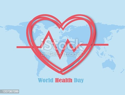 istock World Health Day with heart map background, Element of this image furnished by Nasa 1207067099