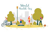 International Healthy Lifestyle Day Concept. People Doing Various Physical Activity as Running, Playing Badminton, Riding Bicycle, Doing Exercise in Park among Tree and Bush Vector Illustration.