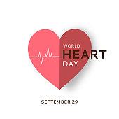 World Heart Day card with paper heart on white background. September 29. Vector illustration. EPS10