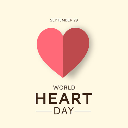 World Heart Day card with paper heart. September 29. Vector