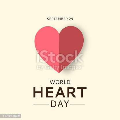 World Heart Day card with paper heart. September 29. Vector illustration. EPS10