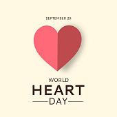 World Heart Day card with paper heart. September 29. Vector illustration. EPS10