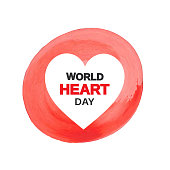 World Heart Day card with red watercolor. Vector illustration. EPS10