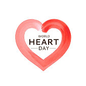 World Heart Day card with watercolor heart. September 29. Vector illustration. EPS10